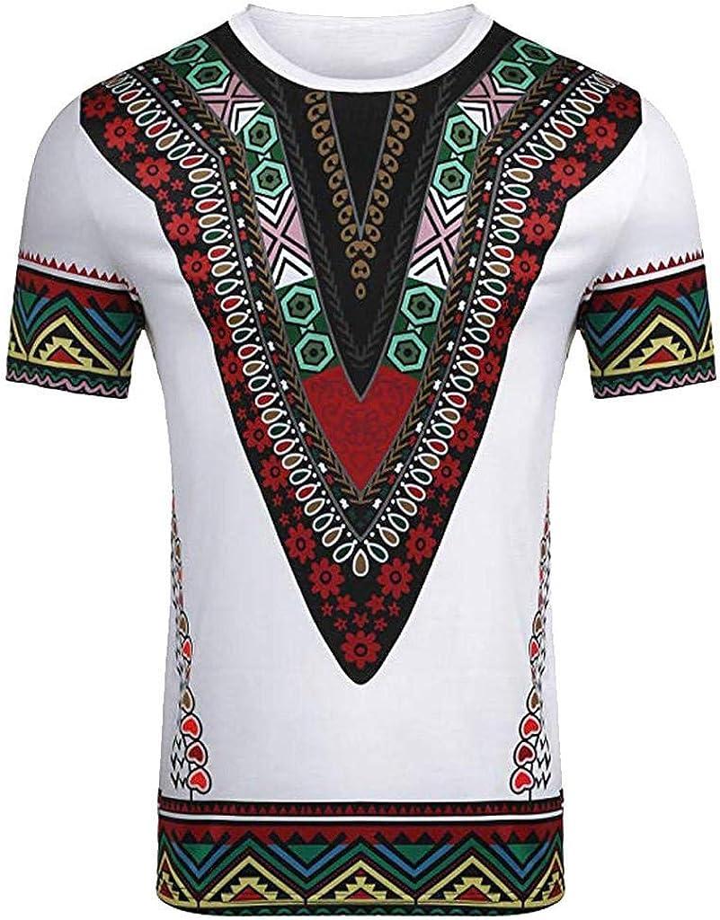 Camisetas Hombre Manga Corta Verano SHOBDW Verano 2019 Nuevo Camisas Hombre Flores Africano Impresión Casual Moda Cuello Redondo Tops Blusas Tallas Grandes: Amazon.es: Ropa y accesorios
