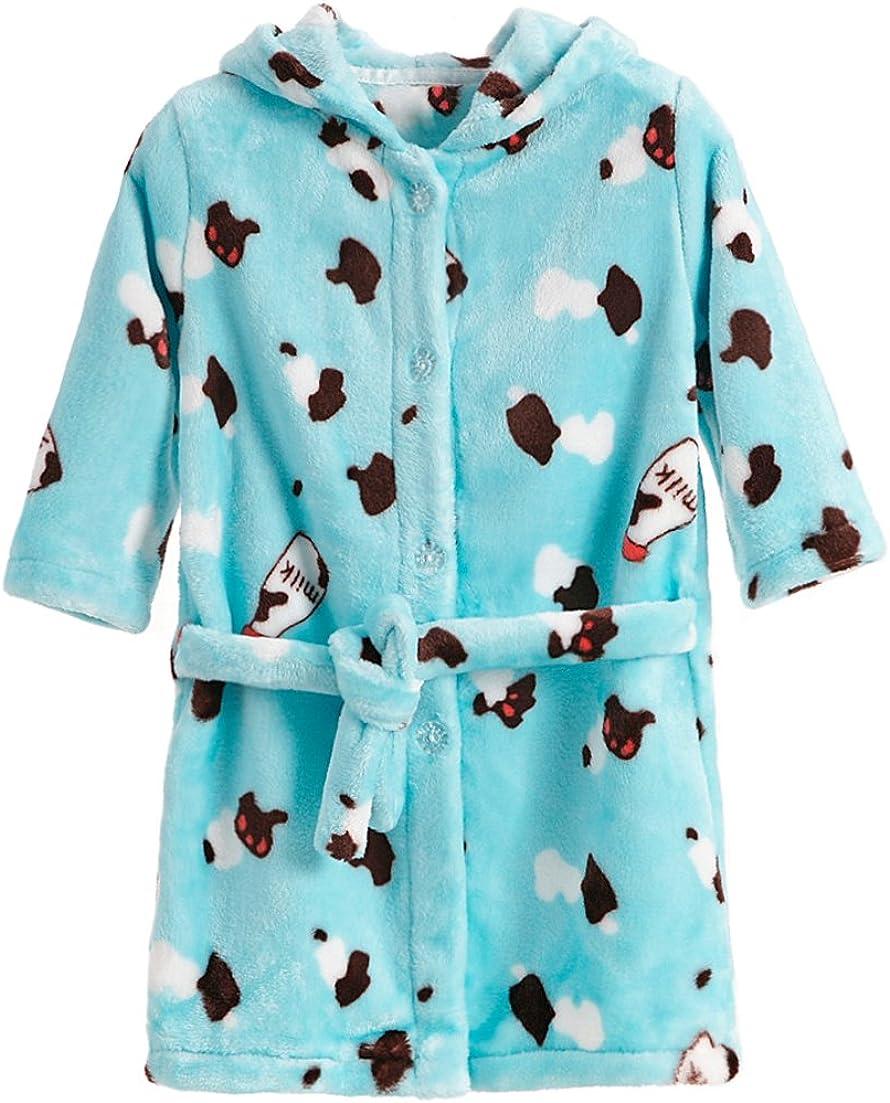 XINNE Toddlers Kids Bathrobe Hooded Dressing Gown Flannel Robes Pajamas Sleepwear