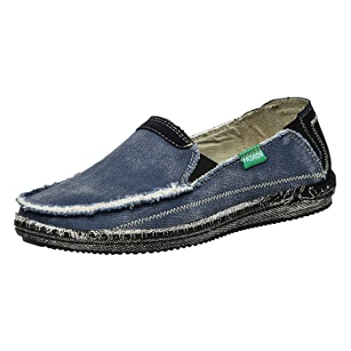 Men Canvas Jeans Shoes Summer Casual Breathable Washed Denim Slip On Fashion Flats Loafer