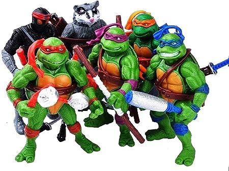 City Hero Turtles 6 PCS Set New (Michelangelo,Leonardo,Raphael,Donatello Mutant Ninja Action - TMNT Action Figures - Turtles Toy Set - Ninja Turtles Anime Decoration Gift