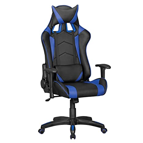 Home Collect ion24 Amstyle Silla de Oficina Score Efecto de Piel Negro/Azul Gaming Chair