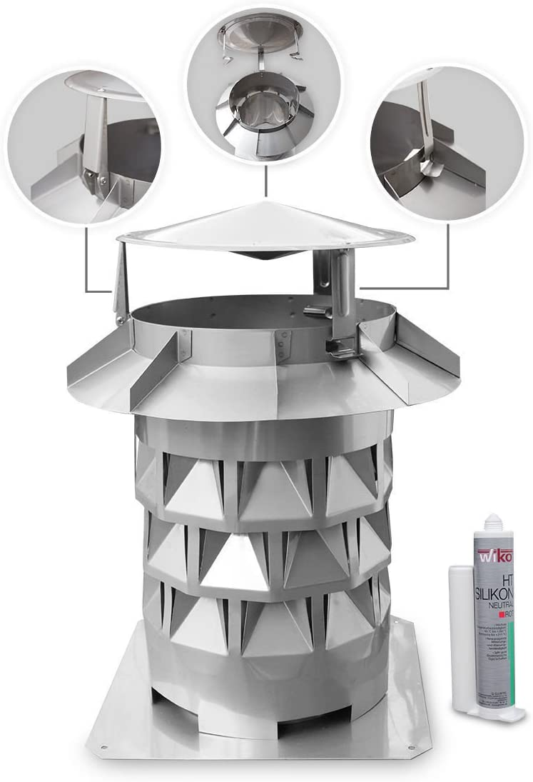 Windkat Schornsteinaufsatz /Ø 160 mit Einschub rund /Ø 156 Silikon GRATIS in Edelstahl