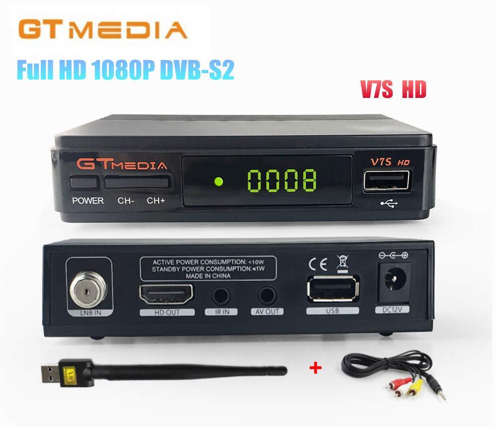 FREESAT V7S HD DVB-S2 Full HD 1080P Satellite TV Receiver Support PowerVu Biss Key Newcamd + 1pc AV Cable + USB WiFi