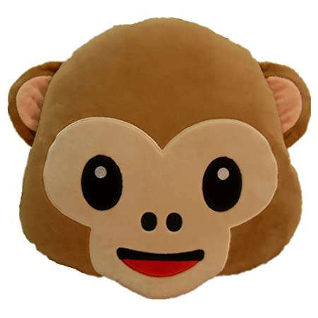 LIHI 40cm Emoji Smiley Emoticon Round Cushion Pillow Stuffed Plush Awesome Monkey Covering Eyes Emoji Pillow