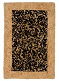 COTTON CRAFT Versailles Black Gold Damask - Ultra-Plush Velour 100% Soft Cotton Chenille Patchwork Bath Rug 20x30 an Elegant Addition to Your Bathroom at a