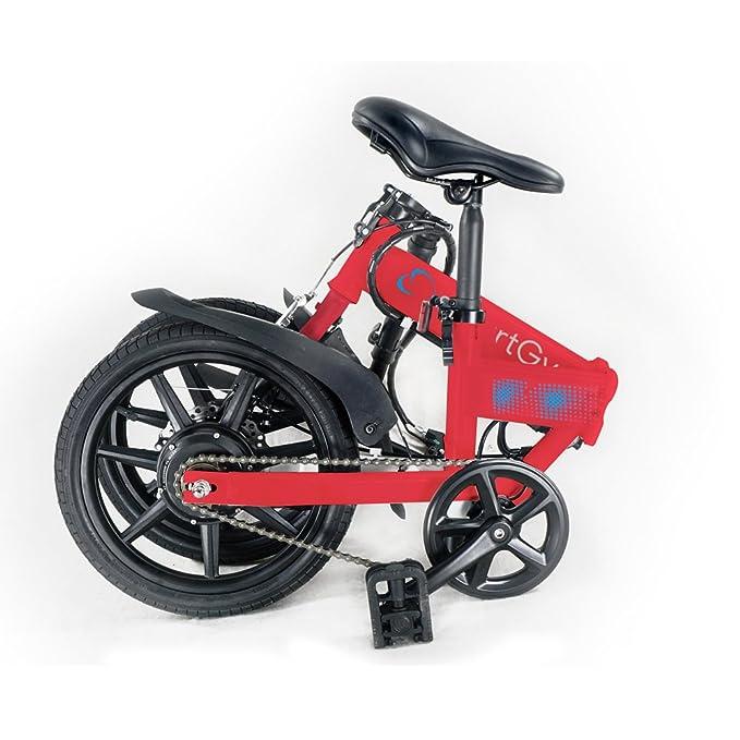 Smartgyro Ebike Red - Bicicleta Eléctrica Plegable con asistente al pedaleo, ruedas de 16