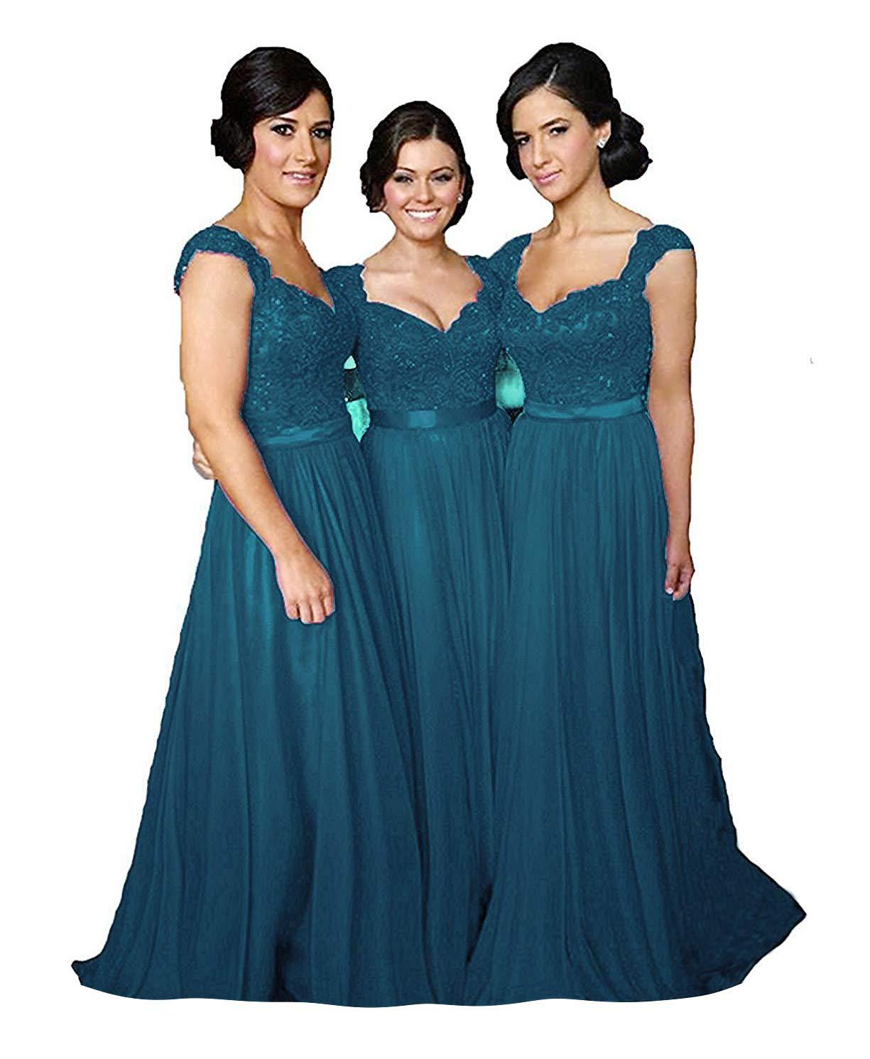 Fanciest Women Cap Sleeve Lace Bridesmaid Dresses Long Wedding Party Gowns Teal Us26w