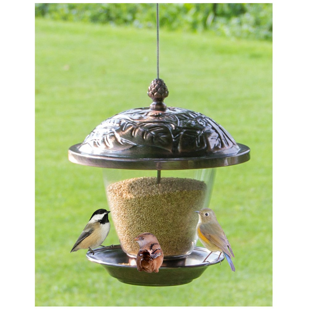 ModeWing Bird Feeders Hanging For Outside Metal Squirrel Proof Leaves Pattern