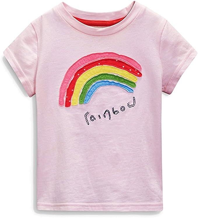 Camisetas de Manga Corta Arcoiris Niñas Precioso Rosa Ropa (6T, Rosa): Amazon.es: Ropa y accesorios