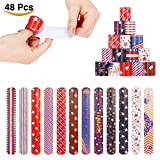 Kyпить 48pcs Fourth of July Patriotic Slap Bracelets Party Favors Pack 12 Designs with USA Flag Stars на Amazon.com