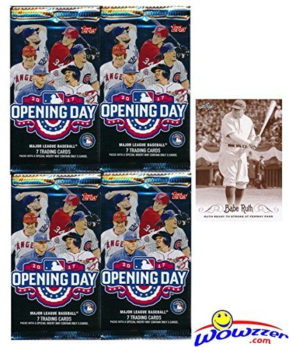 2017 Topps Opening Day MLB Baseball Lot of FOUR(4) Factory Sealed HOBBY Packs with 28 Cards Plus BONUS BABE RUTH Card! Includes 1 Insert in EVERY PACK! Look for Autographs,Parallels & Relics! WOWZZER!