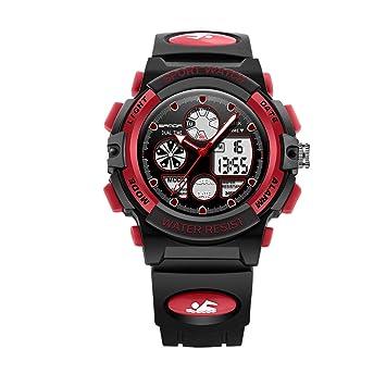 Fantasyworld Sanda 116 niños Reloj analógico Luminoso LED Reloj Digital 30m Alarma a Prueba de Agua Reloj Reloj de Deporte al Aire Libre para los Muchachos: ...