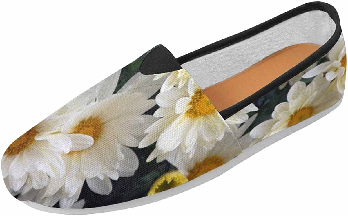 INTERESTPRINT Women Slip on Driving Walking Flats Shoes Fashion Loafers Blooming Daisies
