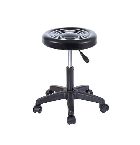 DuraComf Chromium Steel Height-Adjustable Revolving Stool with Wheels (Black)
