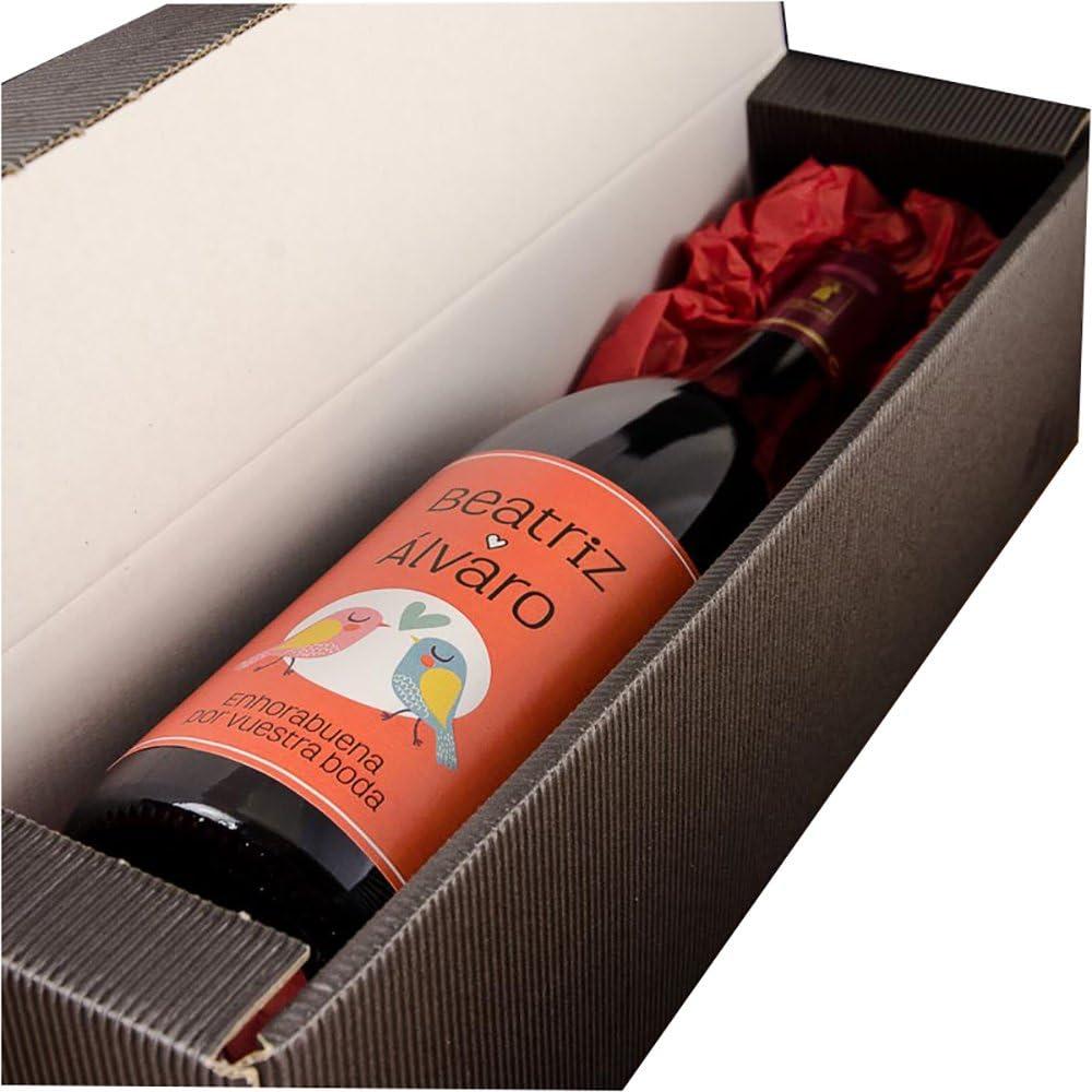 Calledelregalo Regalo de Boda para Parejas Personalizable: Botella de Vino Personalizada con Nombres y la dedicatoria Que tú Quieras: Amazon.es: Hogar