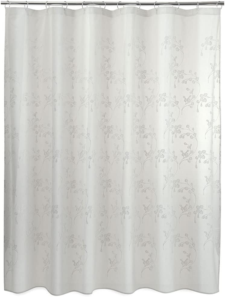 Allure Home Creation Leaf Shower Curtain - White