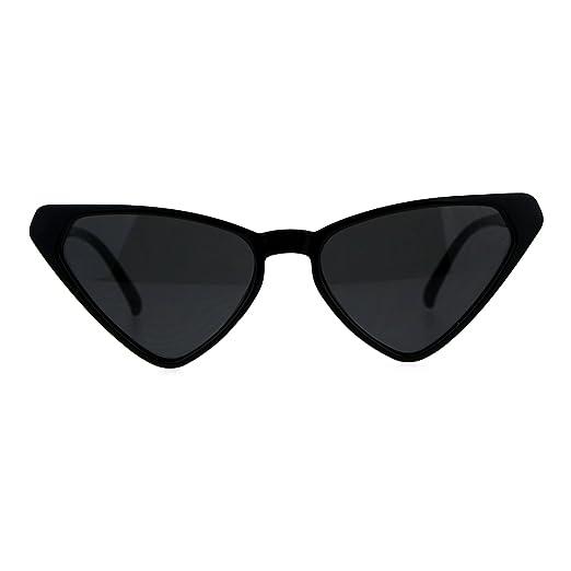 95e74a505697 Womens Retro Vintage Narrow Triangle Cat Eye Plastic Hippie Sunglasses All  Black