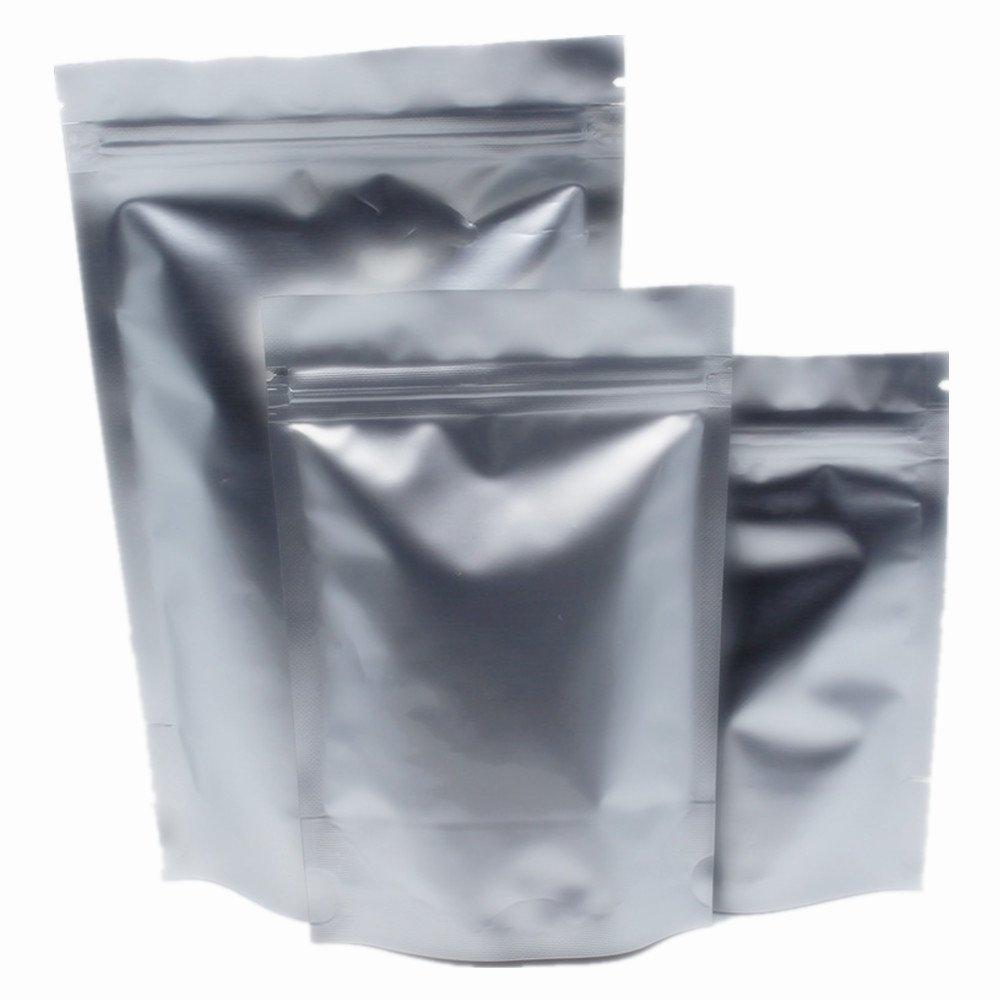 """10x15cm(3.9""""x5.9"""") 50 Stück Silber Hitzeversiegelung Verpackung Mylar Taschen Reines Aluminiumfolie Lebensmittel Aufbewahrungsbeutel Selbstversiegelt Aufstehe Wiederverschließbare Zip Lock Taschen für Nuss Snack Verpackung WACCOMT Pack"""