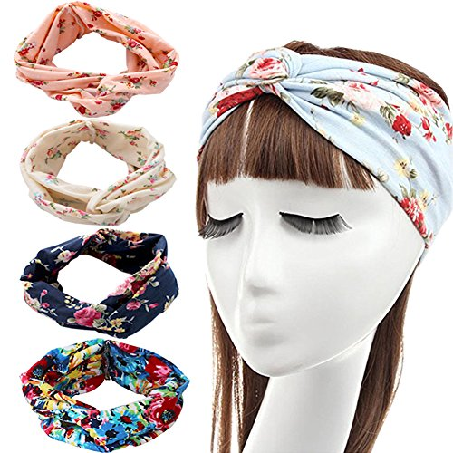 Price comparison product image DRESHOW 4 Pack 1950's Vintage Flower Headbands for Women Twist Elastic Turban Headband Head Wraps Cute Hair Band Accessories