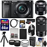 Sony Alpha A6000 Wi-Fi Digital Camera & 16-50mm (Black) with 55-210mm & 50mm f/1.8 Lenses + 64GB Card + Case + Battery/Charger + Tripod + Kit