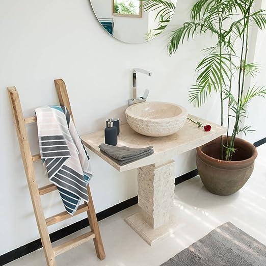 65 cm mit Galerie Naturstein-Waschschale wohnfreuden Onyx Hand-Waschbecken ca