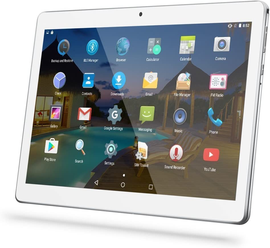 """Amazon.com : Android Tablet 10 Inch with Sim Card Slots - YELLYOUTH 10.1""""  4GB RAM 64GB ROM Octa Core 3G Unlocked GSM Phone Tablet PC Compatible with  WiFi Bluetooth GPS - Silver :"""
