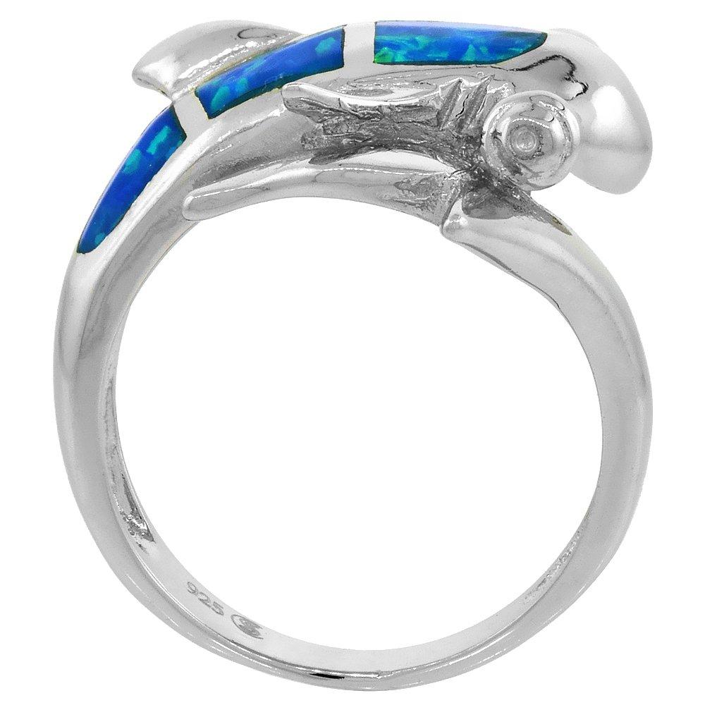 Sterling Silver Blue Synthetic Opal Hammerhead Shark Ring for Women 3 4 inch