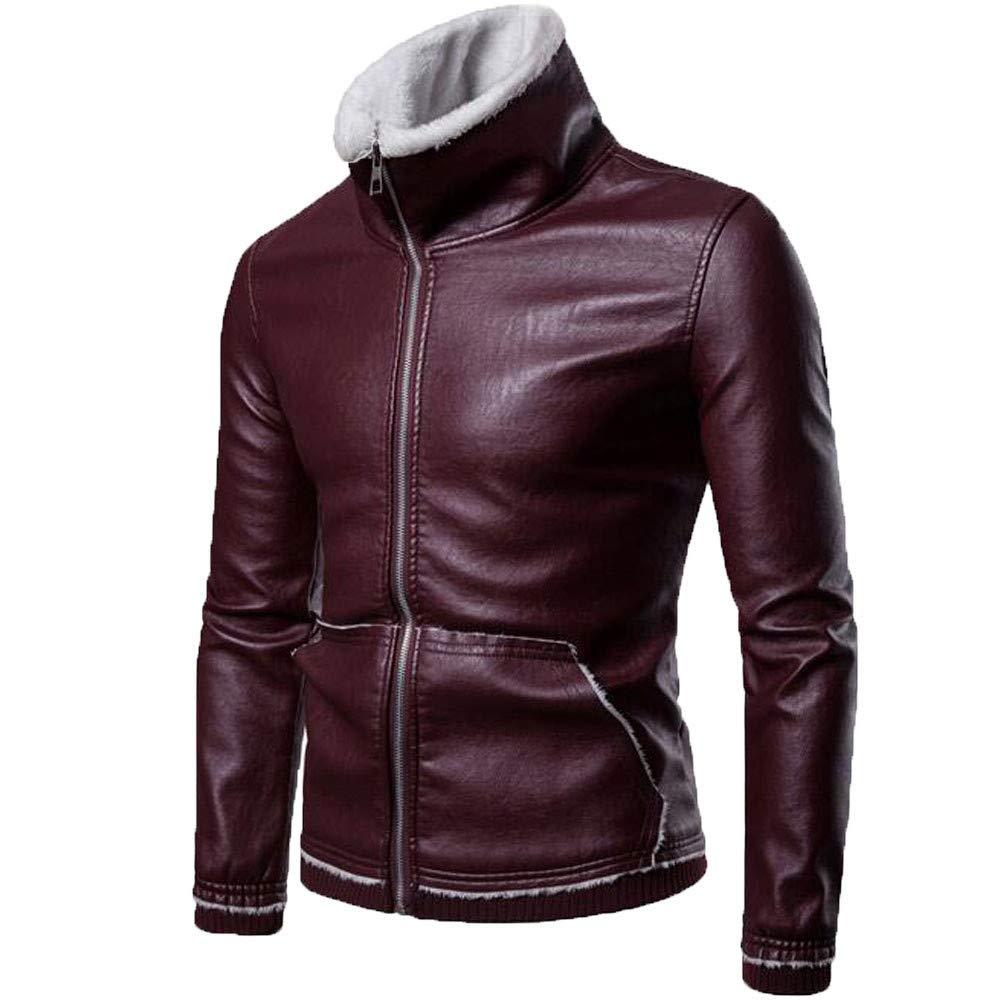 Men's Coat for Men's Autumn Winter Solid Turn-Down Collar Lamb Fur Coat,Windbreaker (XXXL,Red)