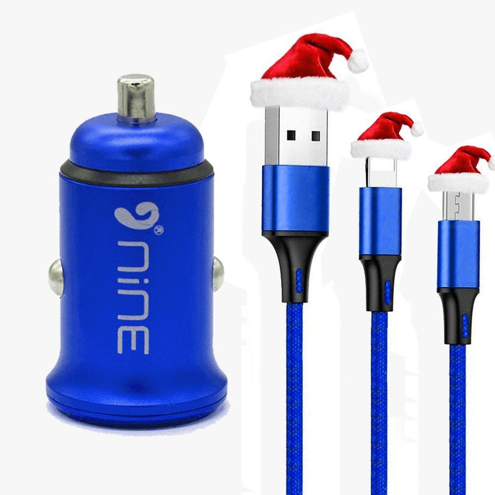 9 NineデュアルUSB車充電器と2 in1 Iphone + Microナイロンケーブルセットfor iPhone XとすべてのiPhone、iPad、Android、カメラ B0771K9J7W ブルー ブルー