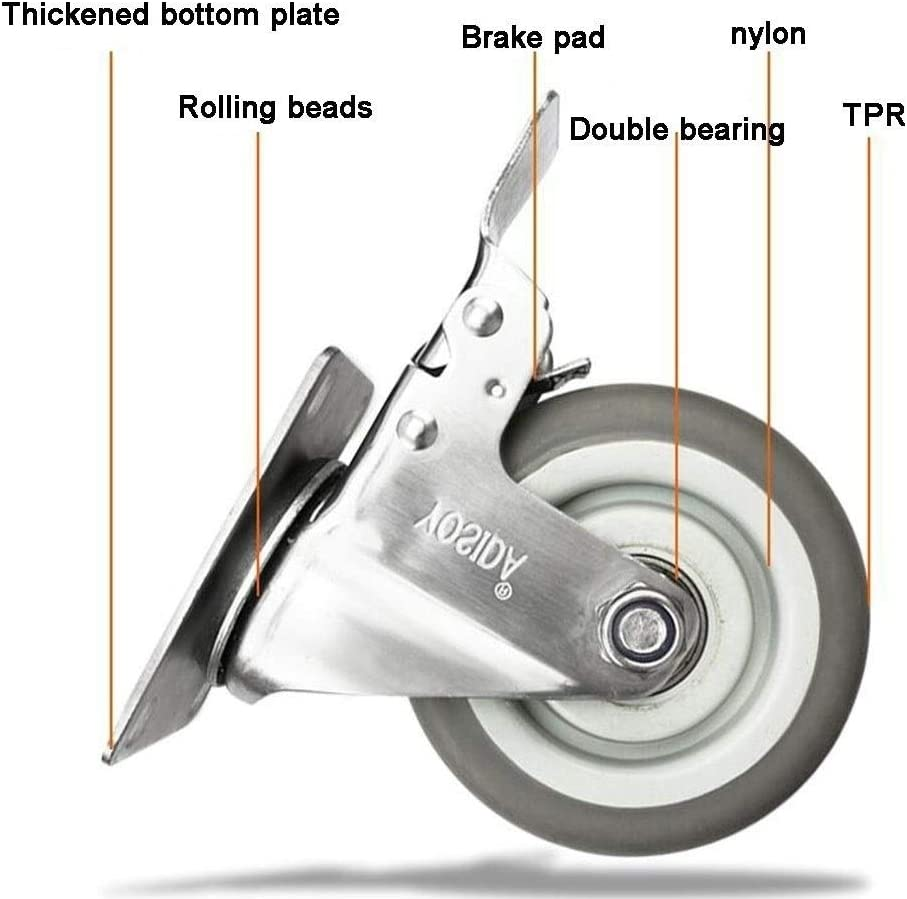 Color : Brake, Size : 5 inch MUMA 3-inch Stainless Steel Silent Furniture Caster 4-inch Shelf Casters Rubber Wheel 5-inch Industrial Equipment Wheel Mechanical Wheel