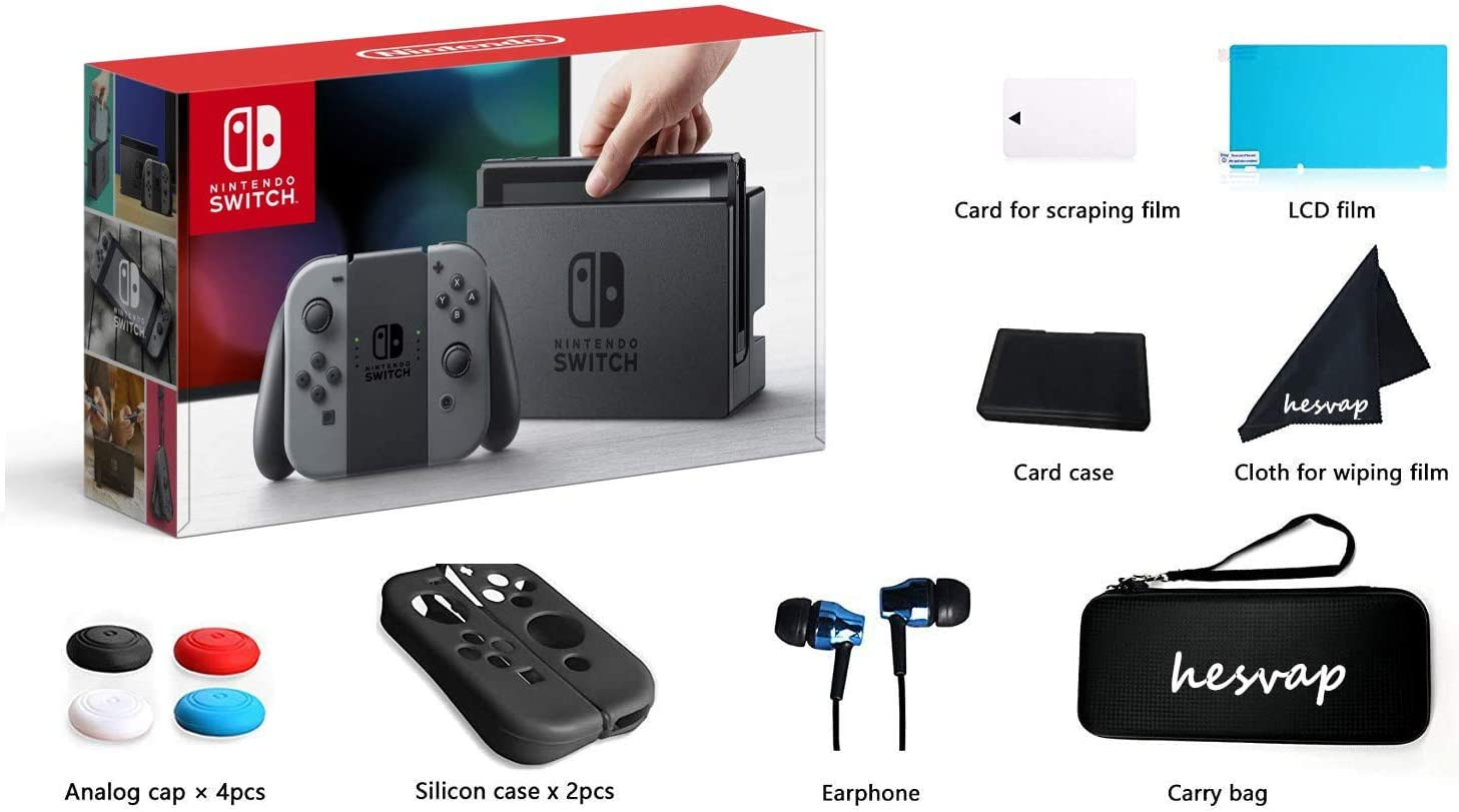 2020 Nintendo Switch Gray Joy Con w/ 69 Value HESVAP 13in1 Supper Kit Case (Earphone, LCD Film, Card Case, Silicon Case x 2pcs, Carry Bag, Wiping Cloth etc.) (Gray)