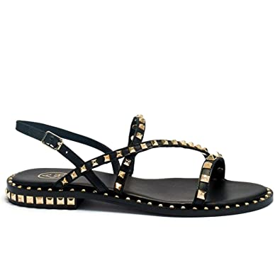 c5dac70283ac Ash - Black Leather Peace Sandals with Gold Studs - S19 PEACE01: ASH ...