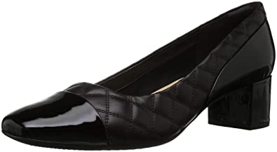 94116035730 CLARKS Women s Tealia Sera Pump Black Leather Patent Combi 050 ...