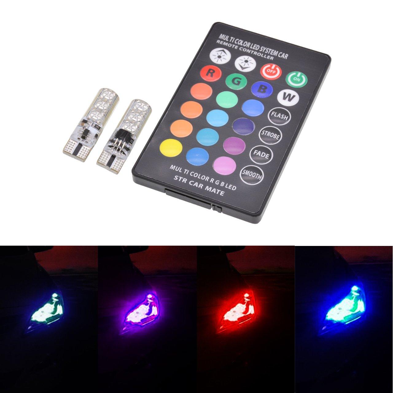 Superhelle, kabellose RGB-LED-Leuchtmittel mit Silikagel, T10-Fassung, 16 wechselnden Farben, Fernbedienung, Seitenmarkierung und 12 V von KaTur