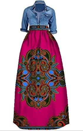 77c138ff2c2 Bigyonger Womens African Floral Maxi Skirt Plus Size High Waist A Line Long  Skirts