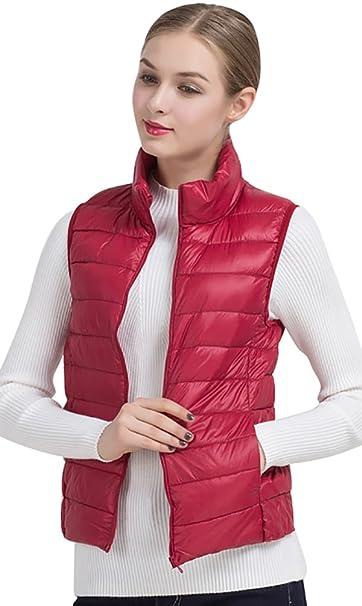 ed578abd8e4c5 CHENGYANG Chalecos Deportivos Cazadoras Sin Manga Plumas Chaquetas de vestir  para invierno mujer Rojo Oscuro EU