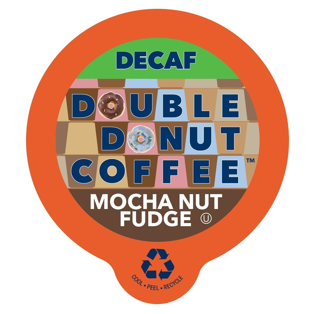 Mocha Nut Fudge Medium Roast Flavored Decaf Coffee Pods for Keurig K-Cup Makers from Double Donut, 96 Capsules