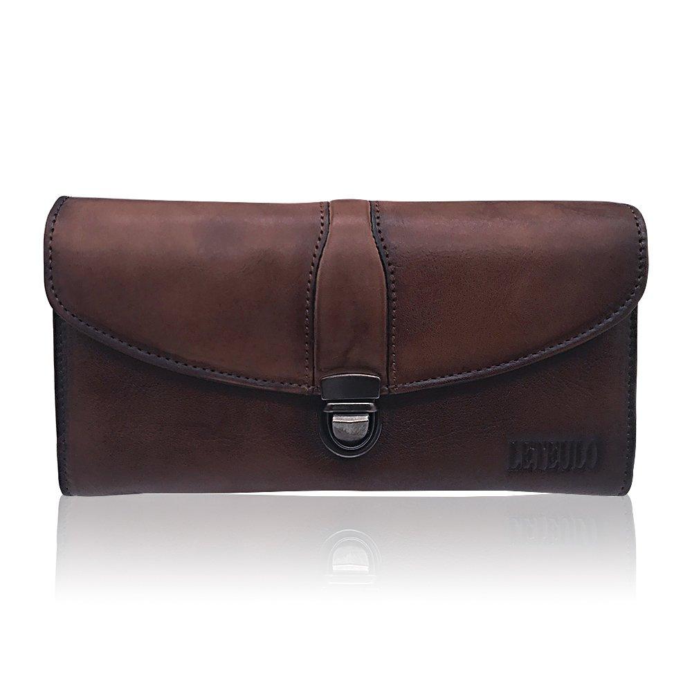 Women's Ladies Large Capacity Handmade Dip Dye Genuine Leather Wallet Card Holder Purse (923Coffee)