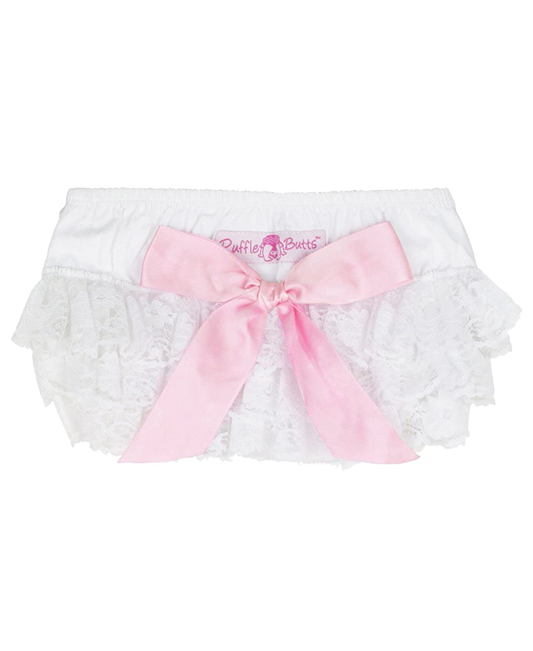 RuffleButts Baby/Toddler Girls Lace Woven Ruffled Bloomer w/Bow RBWYYXX-LACE-SC-BABY