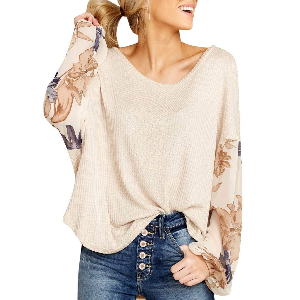 ANJUNIE Womens Loose Casual Knit Tops Patchwork Print Long Bell Sleeve Top Pullover(Brown,XL)