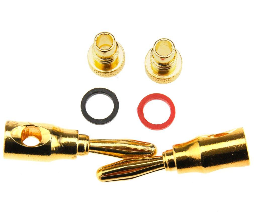 8 x Bananen Stecker Kabel Draht gold Farbe 4 MM Audio Lautsprecher ...