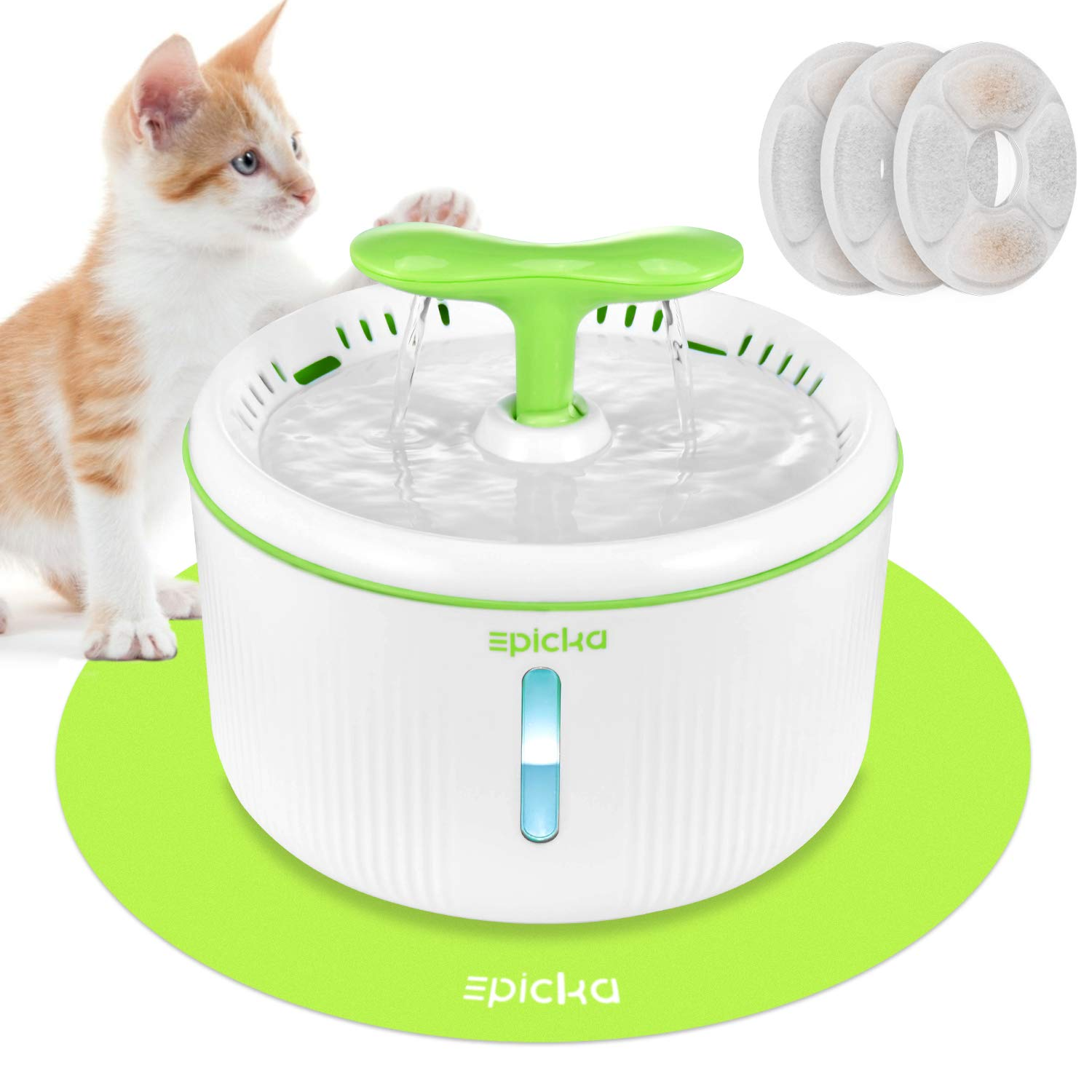 EPICKA Sprout PetFountain, 2L/67ozCat Water Fountainwith LED Indicator, Quiet Pump, 3 Triple-Action Filters and 1 Silicone Mat, BPA-Free Automatic Dog Water Dispenser