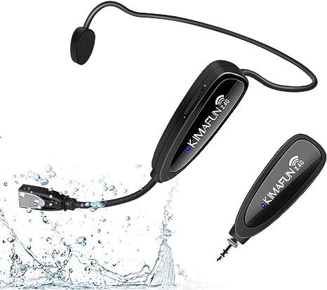 Micrófono inalámbrico de fitness KIMAFUN 2.4 G inalámbrico resistente al agua con transmisor y receptor de 3,5 mm, para instructor de fitness, spinning, yoga, smartphone, altavoz, G100-1: Amazon.es: Instrumentos musicales