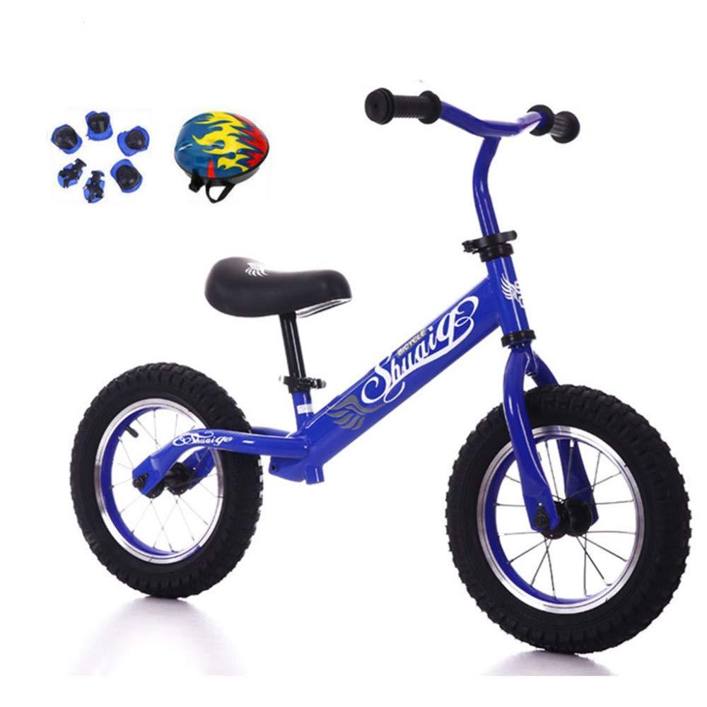 Equilibrio Bici Senza Pedali, Sicuro E Confortevole per Bambini Piccoli di 2-6 Anni, con Casco,blu-12''