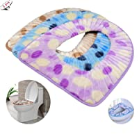 Iriesure 3PCS Plüsch WC Sitzbezüge, WC Sitzkissen Pad Bad Weich Warm Waschbar WC Sitzbezug Kissen (Zufällige Farben Und Stile)
