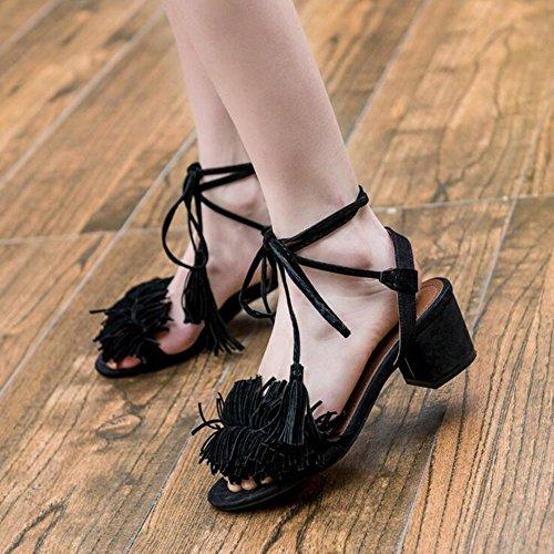 Alto Coreanas Señoras Tacón Verano Abiertas Gruesas De Black Atractivas Zapatos Sandalias Sandalias Con De Mujer De Sandalias On08T
