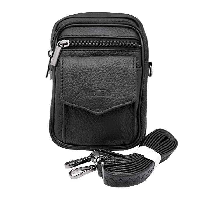 ed4373cd9ba4 Mini Leather Messenger Shoulder Bag Fanny Pack Waist Bag Pouch Cellphone  Wallet Case (N Black)