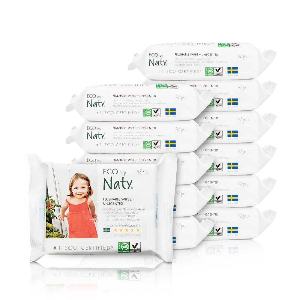 Eco by Naty Thick Baby Wipes with Aloe Vera for Sensitive Skin, Hypoallergenic, Biodegradable and Compostable, 12 Packs of 56 (672 Wipes) Nature Babycare 245036