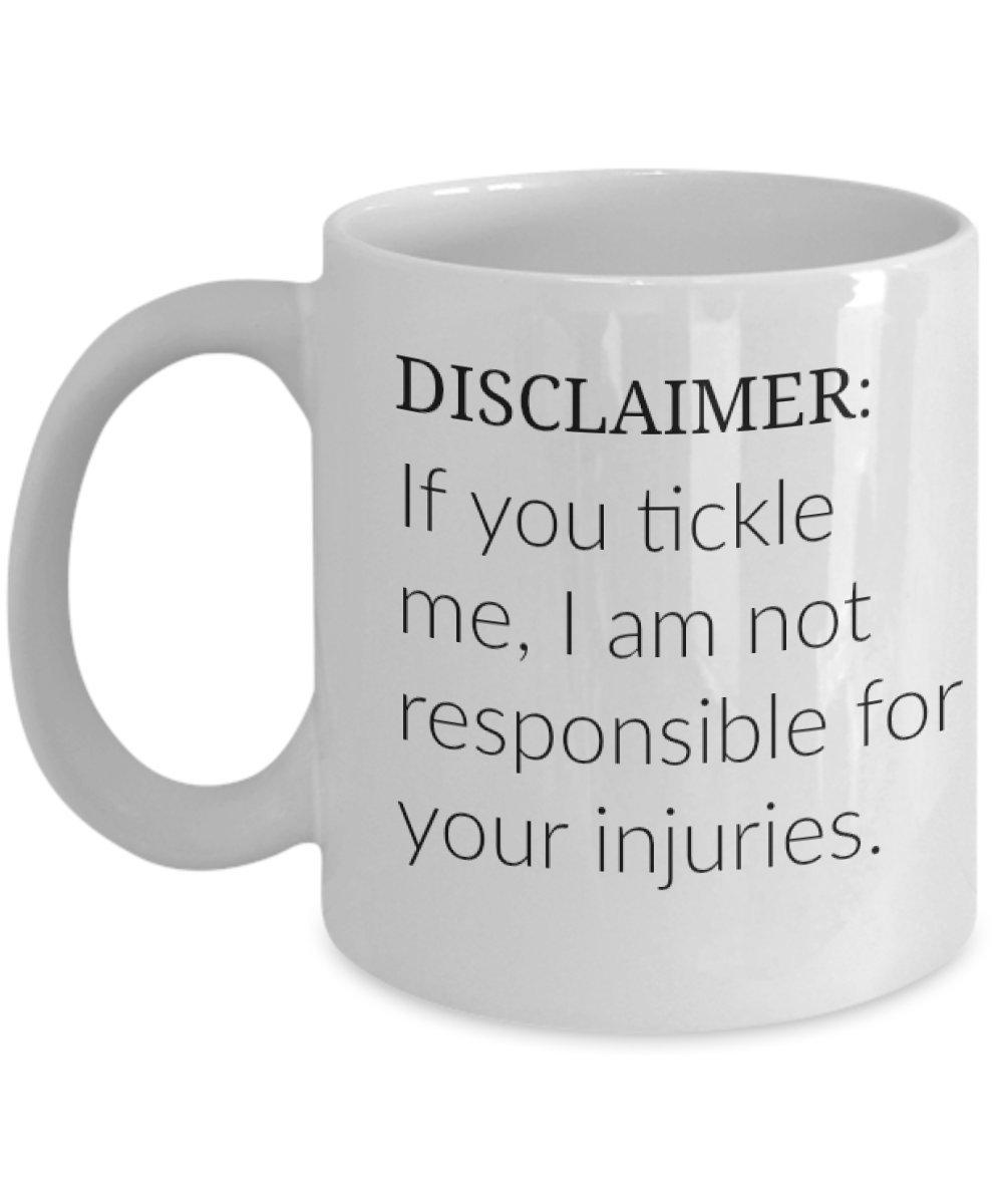 Amazon com: Funny 11 Ounce White Coffee Mug - Disclaimer Mug