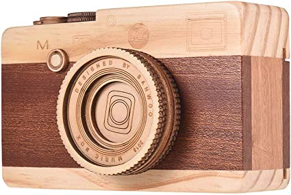 Muslady Wooden Music Box Retro Camera Design Classical Melody Birthday Christmas Festival Musical Gifts Home Office Decoration Crafts